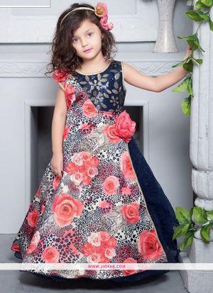 Navy Color Crepe Designer Gown For Kids Girl