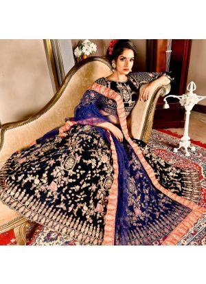 Navy Color Designer Exclusive Bridal Lehenga Choli With Soft Net Dupatta