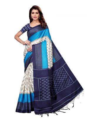 Navy Color Printed Khadi Silk Saree For Women