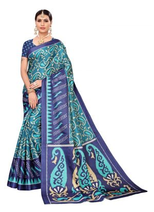 Navy Color Printed Khadi Silk Saree