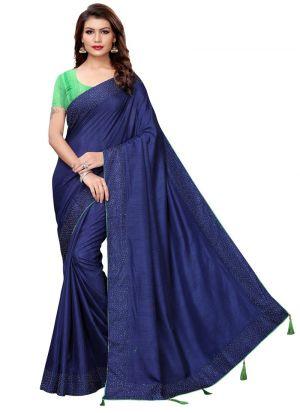Navy Designer Sarees For Raksha Bandhan Gift