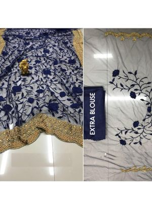 Festive Wear Designer Naylon Mono Net Heavy Embroidery Saree