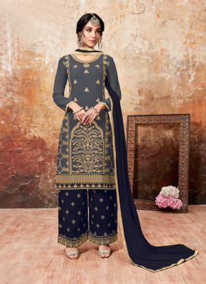 Navy Foux Georgette Designer Palazzo Style Salwar Suit With Heavy Work