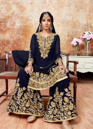 Navy Foux Georgette Designer Sharara Style Salwar Suit With Ribbon Work