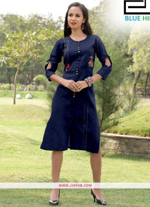 Navy Gaju Kurti Embroidery Work With Fancy Button