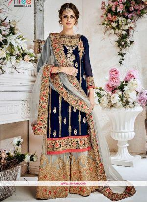 Navy Georgette Designer Pakistani Palazzo Suit