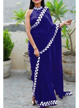 Navy Heavy Embroidery Lace Border Vichitra Silk Designer Saree