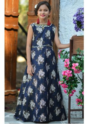 Navy Jacquard Silk Gown Dress For Kids Girl