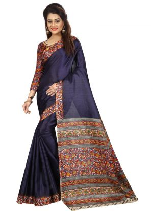 Navy Khadi Silk Printed Party Wear Saree