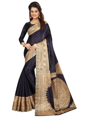 Navy Khadi Silk Saree With Printed Work