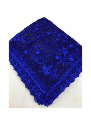 Navy Naylon Net Fancy Thread Work Designer Traditional Saree