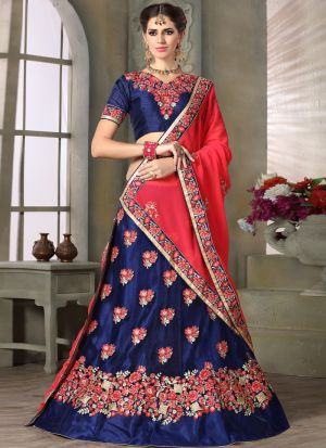 Navy Net Party Wear Lehenga Choli