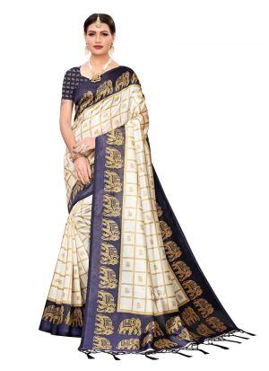 Navy Printed Art Silk Classic Sarees