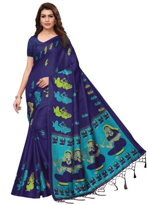 Navy Printed Khadi Silk Classic Saree
