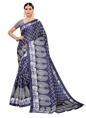 Navy Printed Khadi Silk Festival Saree