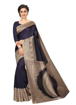 Navy Printed Khadi Silk Saree For Women