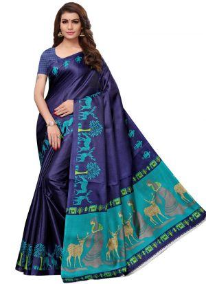 Navy Printed Saree With Khadi Silk Fabric