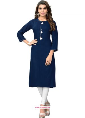 Navy Rayon Hand Work Party Wear Designer Kurti