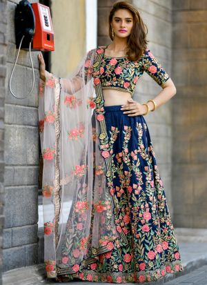 Navy Resham Embroidery Partywear Designer Lehenga Choli With Net Dupatta