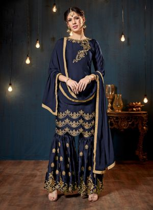 Navy Satin Georgette Designer Sharara Style Salwar Suit With Heavy Work