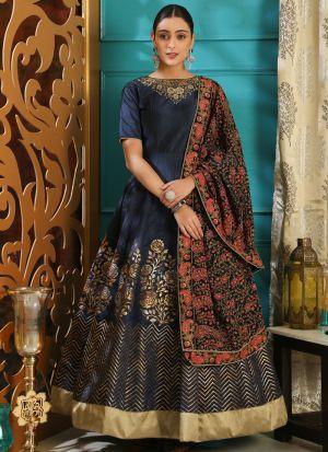 Navy Silk Designer Gown