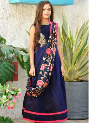 Navy Silk Kids Girl Gown