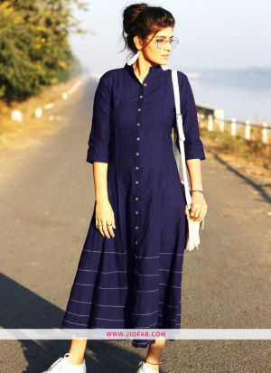 Navy Summer Highway Slub Cotton Heavy Quality Kurti