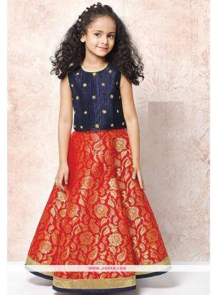 Navy Taffeta Silk Designer Kids Girl Traditional Lehenga Choli