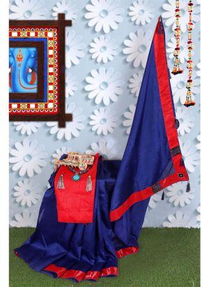 Navy Zoya Silk Solid Indian Designer Saree
