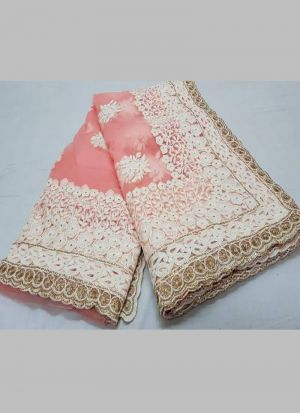 Naylon Net Salmon Stone Work Wonderful Saree