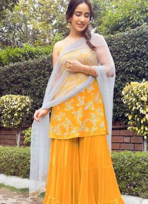 Neha Sharma Yellow Zari Work Wedding Wear Salwar Suit