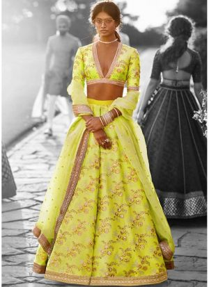 Neon Green Thai Silk Lehenga Choli Designer Collection