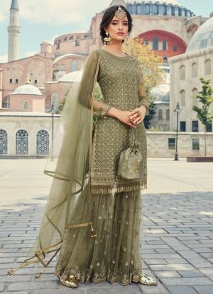 Net Green Designer Sharara Suit For Wedding