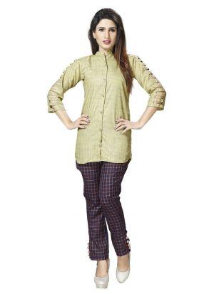 New Arrival Cotton Beige Color Shirt For Women