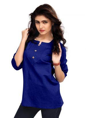 New Arrival Cotton Blue Color Top For Ladies