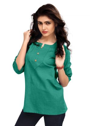 New Arrival Cotton Green Color Top For Women