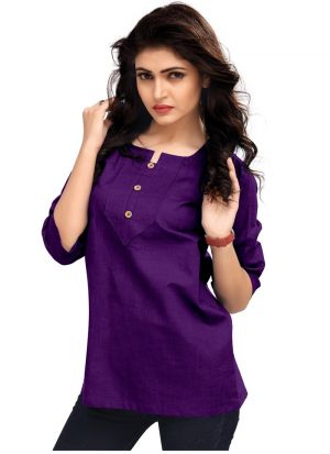 New Arrival Cotton Purple Color Top For Girl