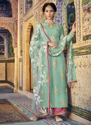 New Arrival Georgette Green Straight Suit For Party