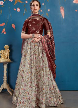 New Arrival Grey Art Silk Lehenga Choli With Dupatta