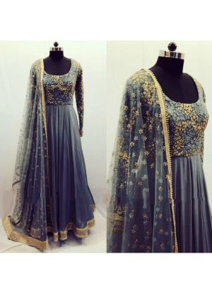 New Arrival Grey Ladies Anarkali Suit