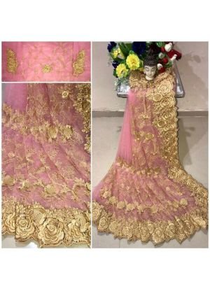 New Arrival Heavy Net Baby Pink Designer Saree