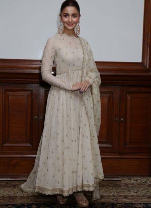 New Arrival Light Cream Ladies Alia Bhatt Anarkali Suits