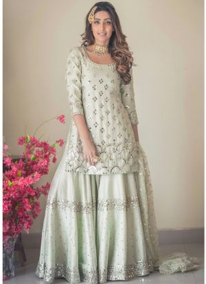 New Arrival Light Sage Color Palazzo Style Suit Pink Lawn Patiyala Salwar Suits