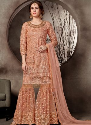 New Arrival Orange Designer Sharara Suit
