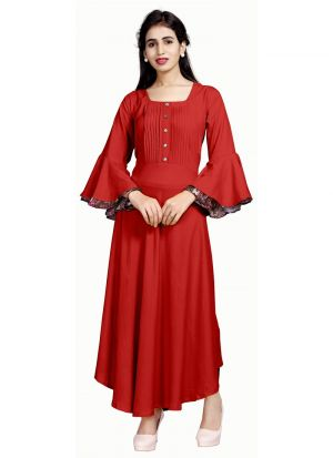 New Arrival Pure Heavy Rayon Red Kurti Collection