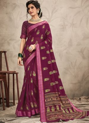 New Arrival Purple Fancy Wear Digital Printed Saree