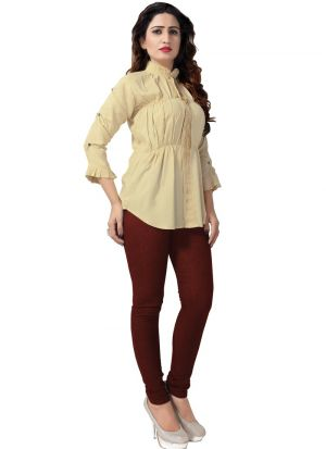 New Arrival Rayon Beige Color Top For Women