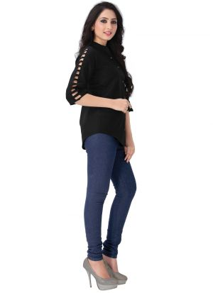New Arrival Rayon Black Color Shirt For Women