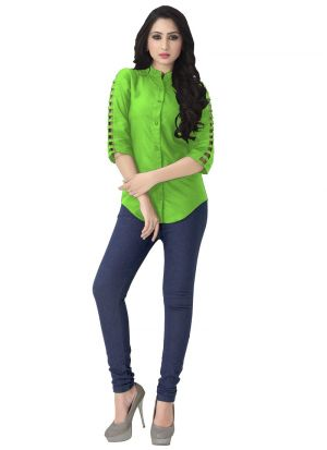 New Arrival Rayon Green Color Shirt For Girl