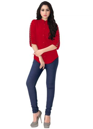 New Arrival Rayon Red Color Shirt For Ladies